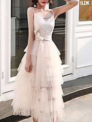 cheap -A-Line Elegant Minimalist Homecoming Cocktail Party Dress Spaghetti Strap Sleeveless Ankle Length Tulle with Tier 2020