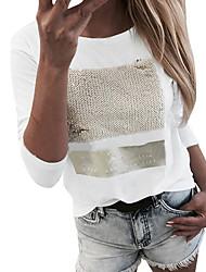 cheap -Women's Blouse Shirt Color Block Long Sleeve Round Neck Tops White