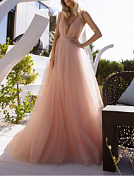 cheap -A-Line Wedding Dresses V Neck Court Train Chiffon Sleeveless Beach Sexy Wedding Dress in Color See-Through with Sashes / Ribbons Split Front 2021