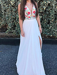 cheap -A-Line Bohemian White Holiday Prom Dress V Neck Sleeveless Sweep / Brush Train Chiffon with Split Pattern / Print 2020
