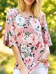 cheap -Women's Geometric Ruffle Print T-shirt Daily Blushing Pink