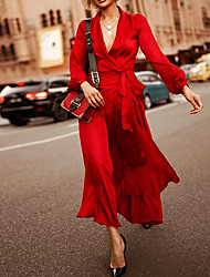 cheap -Women's Wrap Dress Maxi long Dress - Long Sleeve Solid Color Spring Summer V Neck Sexy Going out 2020 Purple Red S M L XL XXL XXXL
