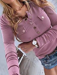 Недорогие -Жен. Однотонный Тонкие Блуза Повседневные V-образный вырез Винный / Белый / Черный / Синий / Лиловый