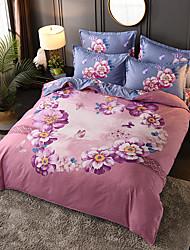 cheap -4 Pieces Duvet Cover Set Elegant Floral Pattern Brushed Comfortable Beddings
