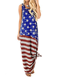זול -בגדי ריקוד נשים שמלת כתפיות שמלת מקסי - ללא שרוולים דפוס קיץ יום יומי וינטאג' 2020 פול אפור כהה כחול בהיר S M L XL XXL XXXL XXXXL XXXXXL