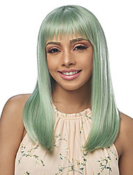 cheap -Synthetic Wig Straight Halloween Neat Bang Wig Medium Length Green Synthetic Hair 20 inch Women's Best Quality Green hairjoy