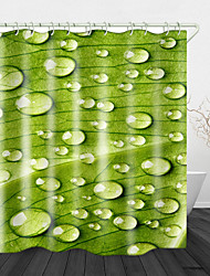 cheap -Leaves Water Drops After Rain Digital Print Waterproof Fabric Shower Curtain for Bathroom Home Decor Covered Bathtub Curtains Liner Includes with Hooks