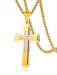 cheap -Men's Cubic Zirconia tiny diamond Pendant Necklace Cross Vintage Fashion Hip Hop Stainless Steel Gold Silver 60 cm Necklace Jewelry For Gift Daily