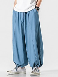 cheap -Men's Sporty Chinoiserie Loose Cotton Wide Leg Pants - Solid Colored Drawstring Comfort Black Blue Dark Gray US32 / UK32 / EU40 / US34 / UK34 / EU42