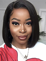 cheap -Synthetic Wig kinky Straight Asymmetrical Wig Short Natural Black Synthetic Hair 12 inch Women's Simple Classic Women Black