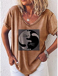 preiswerte -Damen Grafik T-shirt Alltag Blau / Rote / Khaki / Grau