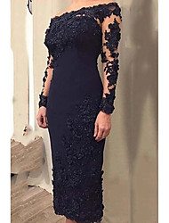 cheap -Sheath / Column Mother of the Bride Dress Elegant Off Shoulder Ankle Length Lace Satin Long Sleeve with Appliques 2020