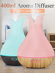 cheap -400ml Ultrasonic Electric Air Humidifier Colorful Vase Aroma Oil Diffuser Wood Grain 7 colors LED Lights cool mist maker