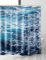 cheap -Ocean Sea Foam Digital Print Waterproof Fabric Shower Curtain for Bathroom Home Decor Covered Bathtub Curtains Liner Includes with Hooks