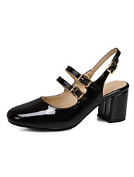 cheap -Women's Sandals 2020 Summer Pumps Square Toe Minimalism Party & Evening Buckle Solid Colored Patent Leather Black / Red / Beige