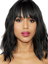 cheap -Synthetic Wig kinky Straight With Bangs Wig Short Natural Black Synthetic Hair 12 inch Women's Simple Life Women Black