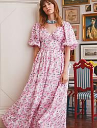 billige -Dame Swingkjole Maxikjole - Kort Erme Blomstret Sommer Kontor 2020 Rosa S M L XL