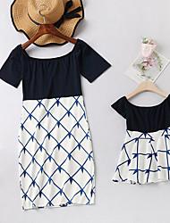 cheap -Mommy and Me Vintage Sweet Geometric Color Block Print Short Sleeve Knee-length Dress Black