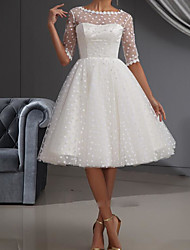 cheap -A-Line Wedding Dresses Jewel Neck Knee Length Lace Tulle Half Sleeve Vintage Little White Dress 1950s with Embroidery 2020