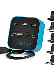 cheap -All-in-one USB 2.0 Hub 3 Ports TF Micro SD Card Reader Slot USB Combo Multi USB Splitter Cables