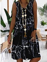 cheap -Women's A Line Dress Knee Length Dress Black Blue Red Sleeveless Geometric Summer V Neck Hot Casual 2021 S M L XL XXL 3XL