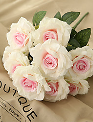cheap -50cm 10 Heads Curled Corner Roses Artificial Flower Wedding Road Lead 1 Bunch