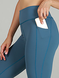 cheap -Women's High Waist Yoga Pants Side Pockets Cropped Leggings Butt Lift 4 Way Stretch Breathable Blue Nylon Non See-through Gym Workout Running Fitness Sports Activewear High Elasticity Skinny