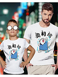 ieftine -Tati si cu mine Activ De Bază Grafic Animal Scrisă Manșon scurt Regular Tricou Alb