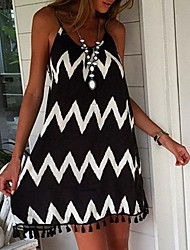 cheap -Women's Sheath Dress - Sleeveless Geometric Strap Elegant Slim Black S M L XL XXL
