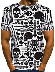 cheap -Men's Graphic Skull Black & White Print T-shirt Basic Exaggerated Daily White