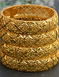 cheap -4pcs Women's Bracelet Bangles Classic Wedding Birthday Vintage Theme Classic Trendy Ethnic Fashion Africa 24K Gold Plated Bracelet Jewelry Gold For Christmas Wedding Party Evening Gift Festival