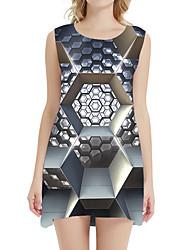 cheap -Women's A Line Dress - Sleeveless Geometric Patchwork Summer 3D Print Sexy Daily Holiday 2020 Black Blue Gold Silver Light Blue S M L XL XXL XXXL