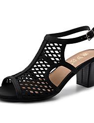 cheap -Women's Sandals Summer Chunky Heel Peep Toe Daily PU Black / Red / Gold