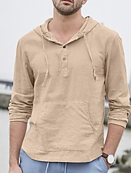 cheap -Men's Solid Colored T-shirt Daily Hooded Khaki / Long Sleeve