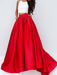 cheap -Two Piece Color Block Minimalist Engagement Formal Evening Dress Halter Neck Sleeveless Floor Length Satin with Pleats 2021