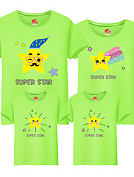 cheap -Family Look Active Basic Floral Color Block Letter Print Short Sleeve Regular Tee White