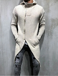 cheap -Men's Solid Colored Long Sleeve Cardigan Sweater Jumper, Hooded Beige S / M / L
