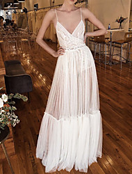 cheap -A-Line Wedding Dresses V Neck Spaghetti Strap Floor Length Lace Tulle Sleeveless Beach Sexy See-Through with Pleats Side-Draped 2020