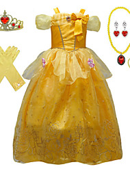 cheap -Belle Cosplay Costume Flower Girl Dress Kid's Girls' A-Line Slip Dresses Christmas Halloween Carnival Festival / Holiday Tulle Cotton Yellow / Yellow (With Accessories) Carnival Costumes Princess