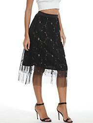 cheap -Women's A Line Skirts - Galaxy Black Yellow S M L
