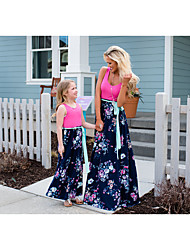 cheap -Mommy and Me Basic Boho Floral Lace up Patchwork Print Sleeveless Maxi Dress Fuchsia