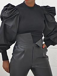 זול -בגדי ריקוד נשים אחיד חולצה צווארון עגול מוּגזָם ליציאה אביב סתיו שחור אפור S M L XL