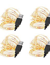 cheap -5m String Lights 50 LEDs SMD 0603 10pcs / 8pcs / 6pcs Warm White / White / Red Christmas / New Year's Waterproof / USB / Decorative USB Powered
