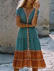 cheap -Women's Sheath Dress - Short Sleeves Floral Summer Elegant 2020 Blue Red S M L XL XXL XXXL XXXXL XXXXXL