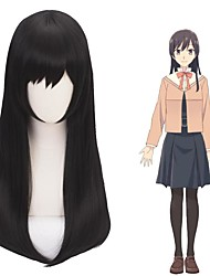 cheap -Cosplay Costume Wig Cosplay Wig Nanami Touko Bloom Into You Straight With Bangs Wig Medium Length Black Synthetic Hair 24 inch Women's Anime Cosplay Exquisite Black