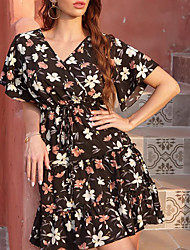 cheap -Women's A Line Dress - Short Sleeves Floral Summer Street chic 2020 White Black Blushing Pink Khaki S M L XL