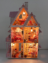cheap -Dollhouse Building Kit Miniature Room Accessories Villa Country Creative DIY with LED Light Wood Kid's Adults' Boys' Girls' Toy Gift