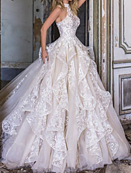 cheap -Ball Gown A-Line Wedding Dresses Halter Neck Court Train Lace Tulle Sleeveless Formal with Cascading Ruffles 2020
