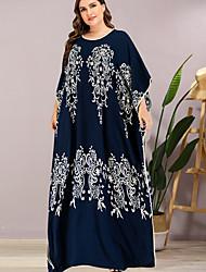 cheap -Women's Sheath Dress Maxi long Dress - 3/4 Length Sleeve Print Summer Elegant 2020 Navy Blue One-Size