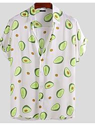 cheap -Men's Fruit Shirt Daily Button Down Collar White / Blue / Yellow / Short Sleeve